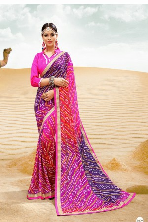 Bedazzling Pink Major Georgette Print With Lace Border Saree