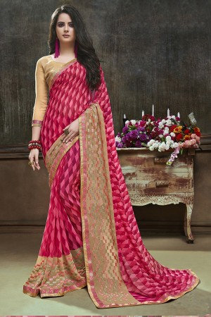 Aesthetic Pink Major Georgette Printed and Embroidered Saree