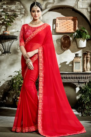 Peppy Red Fancy Fabric Embroidered  Blouse Saree