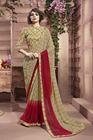 Trendy Gold Weight Less Print With Lace Border Saree