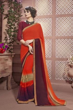Versatile Orange Weight Less Print With Lace Border Saree