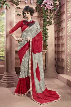 Delightful Silver Weight Less Print With Lace Border Saree