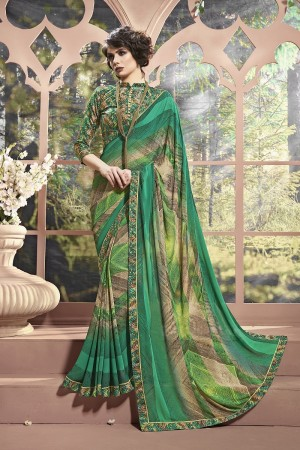 Charming Green Weight Less Print With Lace Border Saree