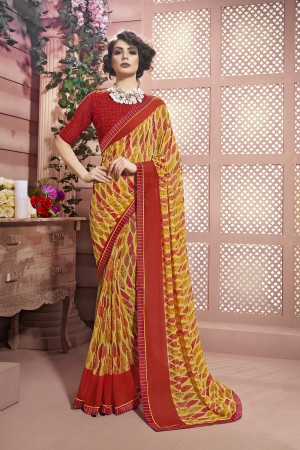 Dazzling Yellow Weight Less Print With Lace Border Saree