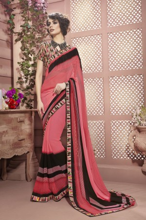 Awesome Peach Weight Less Print With Lace Border Saree