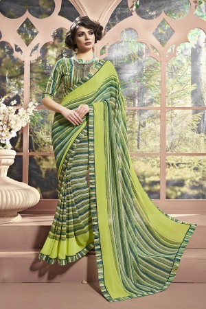 Elegant Green Weight Less Print With Lace Border Saree