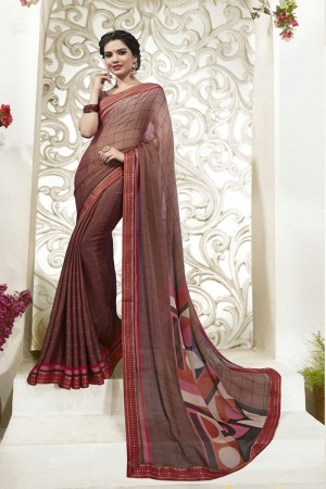 Brown Moss Chiffon Saree with Blouse
