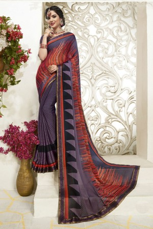 Multicolor Moss Chiffon Saree with Blouse