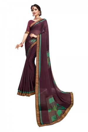 Wine Moss Chiffon Saree with Blouse