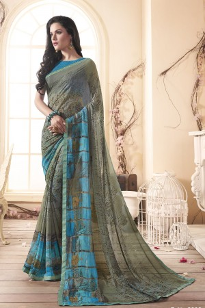 Graceful Olive Major Georgette Print With Lace Border Saree