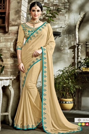 Graceful Brown Fancy Fabric Embroidered  Blouse Saree