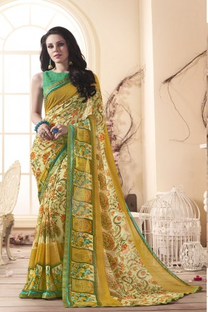 Stunning Yellow Major Georgette Print With Lace Border Saree