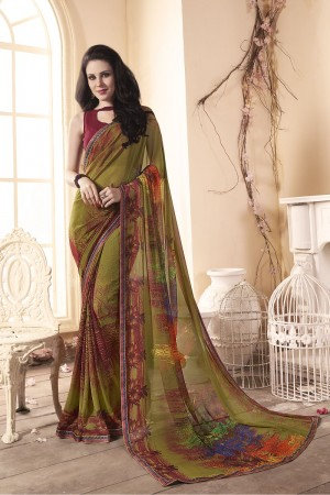 Luscious Olive Major Georgette Print With Lace Border Saree