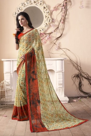 Distinctive Yellow Major Georgette Print With Lace Border Saree