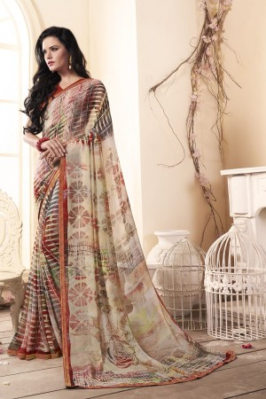 Engrossing Multi Major Georgette Print With Lace Border Saree