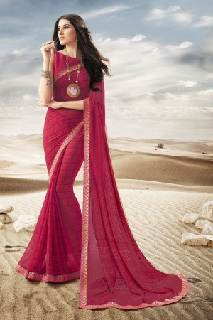 Astounding Maroon Major Georgette Print With Lace Border Saree
