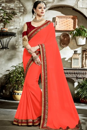 Bewitching Orange Fancy Fabric Embroidered  Blouse Saree