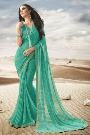 Ravishing Light Green Major Georgette Print With Lace Border Saree