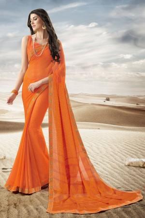 Divine Orange Major Georgette Print With Lace Border Saree