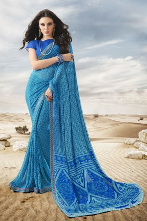 Classic Blue Major Georgette Print With Lace Border Saree
