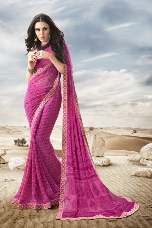 Classy Pink Major Georgette Print With Lace Border Saree
