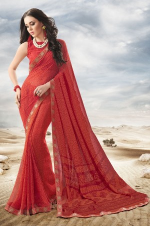 Beguiling Red Major Georgette Print With Lace Border Saree