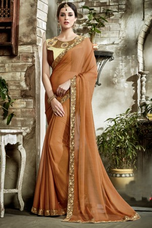 Picturesque Brown Fancy Fabric Embroidered  Blouse Saree