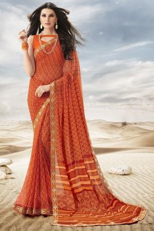 Fantastic Orange Major Georgette Print With Lace Border Saree