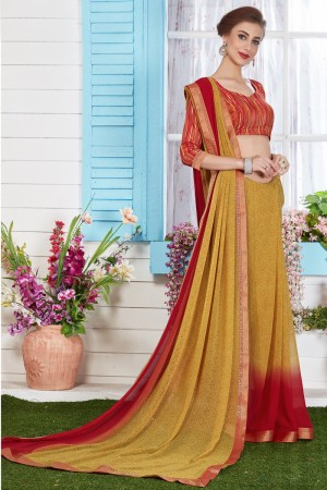 Glamorous Brown Major Georgette Print With Lace Border Saree