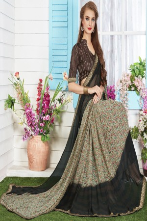 Aesthetic Cream Major Georgette Print With Lace Border Saree