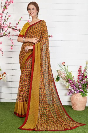 Adorable Gold Major Georgette Print With Lace Border Saree