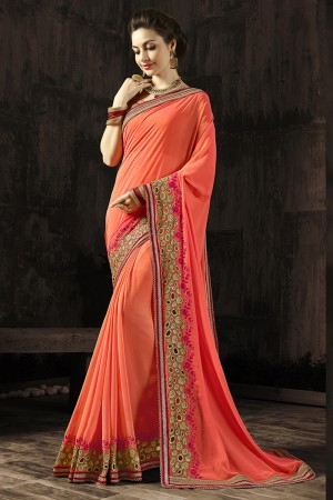 Attractive Peach Embroidered 60 GM Georgette & Moss Chiffon with  Designer  Lace Border Saree