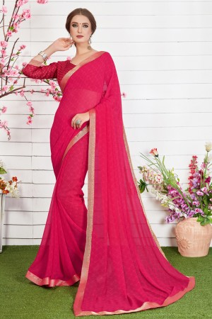 Trendy Pink Major Georgette Print With Lace Border Saree