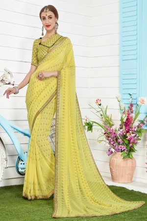 Versatile Yellow Major Georgette Print With Lace Border Saree