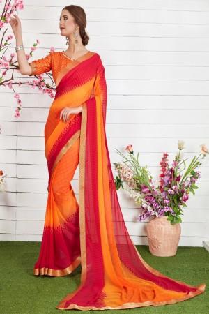 Delightful Orange Major Georgette Print With Lace Border Saree