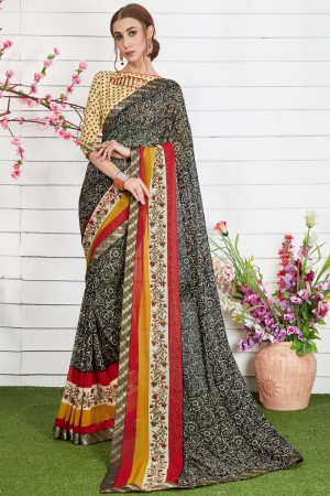 Charming Black Major Georgette Print With Lace Border Saree