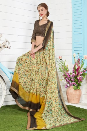 Exuberant Olive Major Georgette Print With Lace Border Saree
