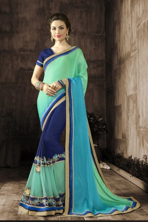 Graceful Blue Embroidered 60 GM Georgette & Moss Chiffon with  Designer  Lace Border Saree