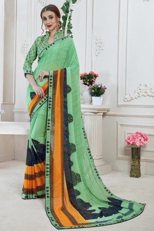 Awesome Turquoise Major Georgette Print With Lace Border Saree