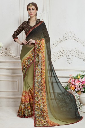 Dashing Olive Major Georgette Print With Lace Border Saree