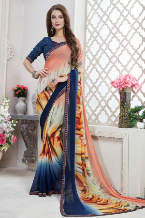 Glamorous Multi Major Georgette Print With Lace Border Saree