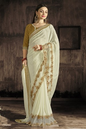 Fabulous Cream Embroidered 60 GM Georgette & Moss Chiffon with  Designer  Lace Border Saree