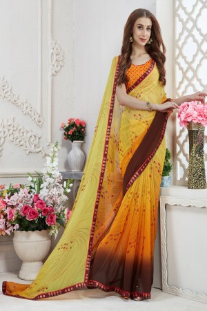 Aesthetic Yellow Major Georgette Print With Lace Border Saree