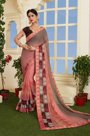 Splendiferous Peach Silky Silver Print With Lace Border Saree