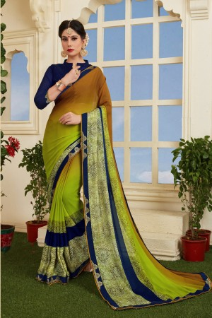 Voguish Green Silky Silver Print With Lace Border Saree