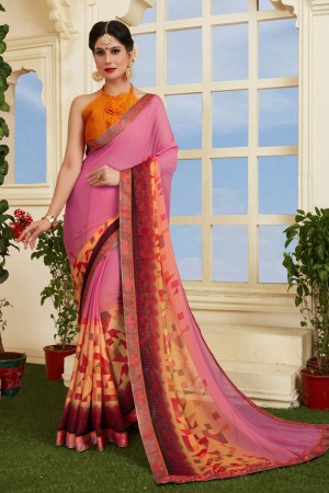 Attractive Pink Silky Silver Print With Lace Border Saree