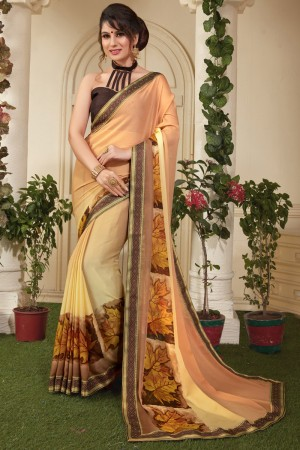 Graceful Gold Silky Silver Print With Lace Border Saree