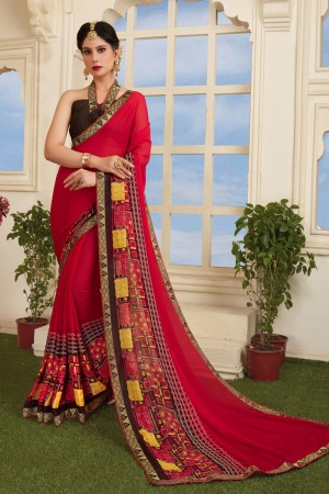 Fabulous Red Silky Silver Print With Lace Border Saree