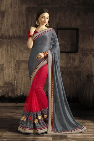 Enthralling Red Embroidered 60 GM Georgette & Moss Chiffon with  Designer  Lace Border Saree
