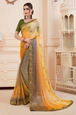 Yellow & Grey Khushi Brasso Saree with Blouse